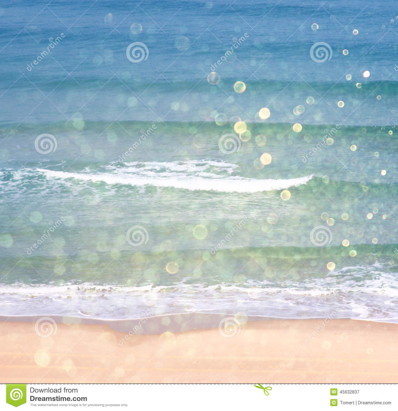 Vintage Beach Background Stock Photo 112981333: Background Of Blurred Beach And Sea Waves With Bokeh