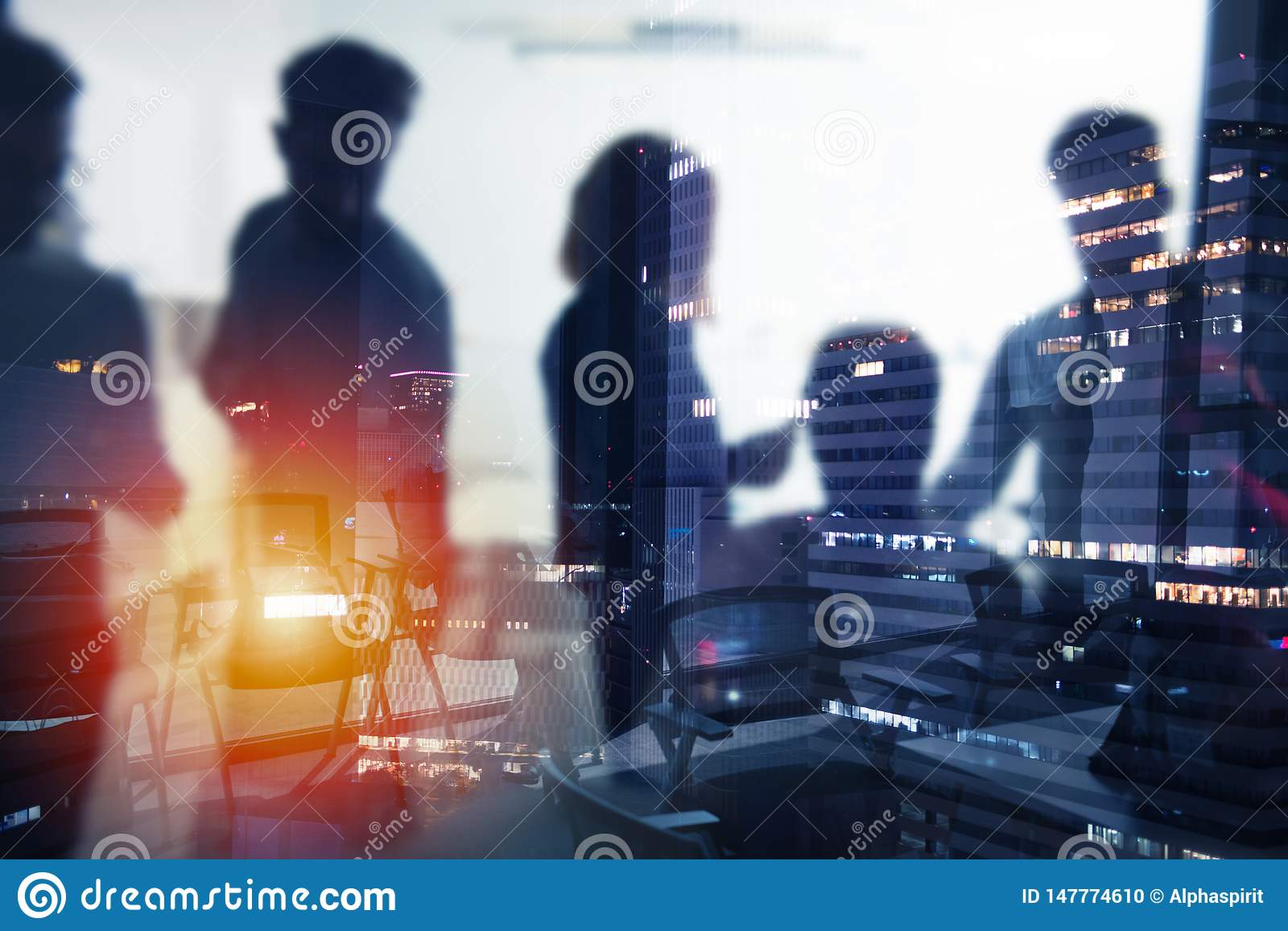 Background of business people that work during night
