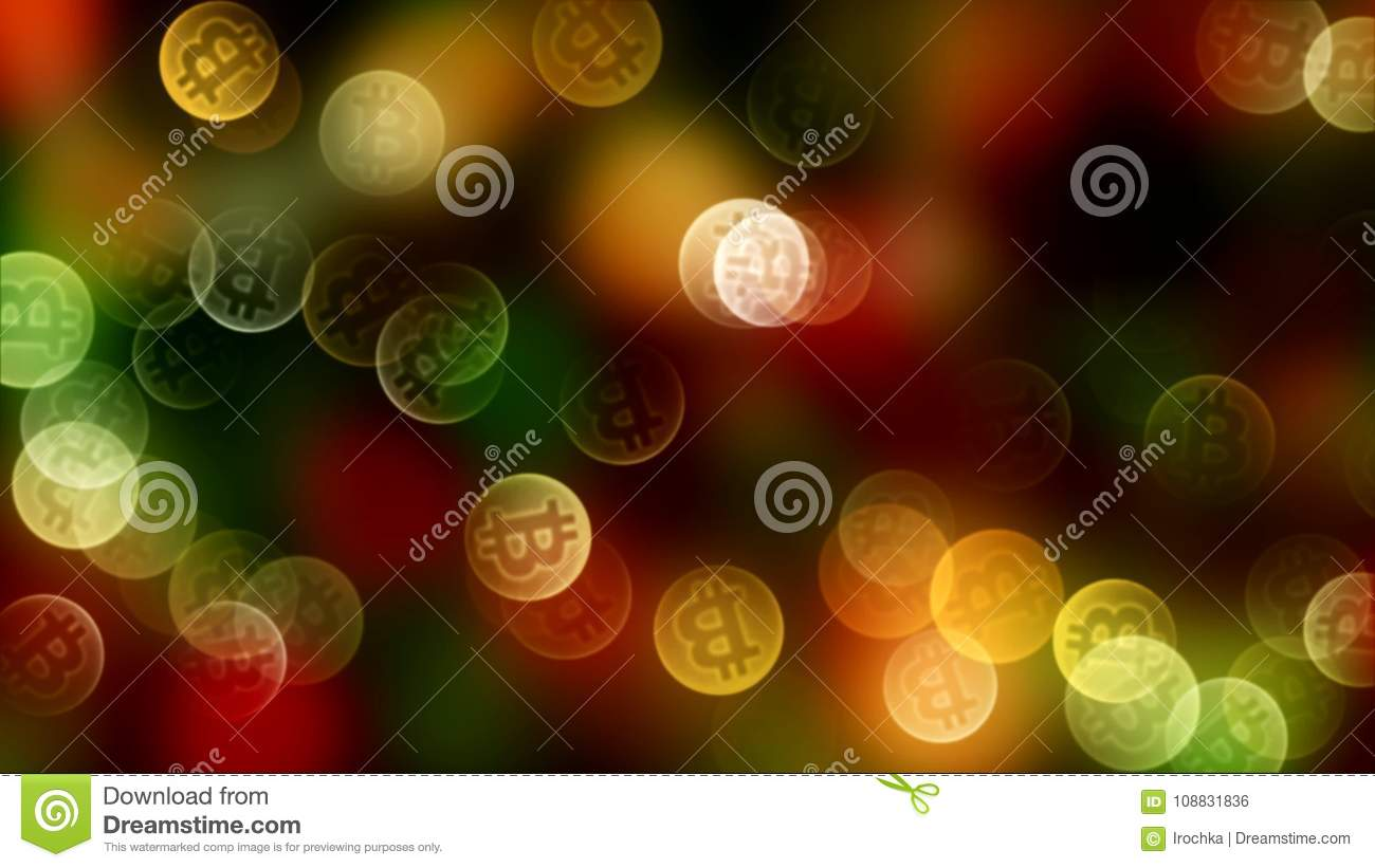 Background bokeh of coins bitcoin in gold color. 3d