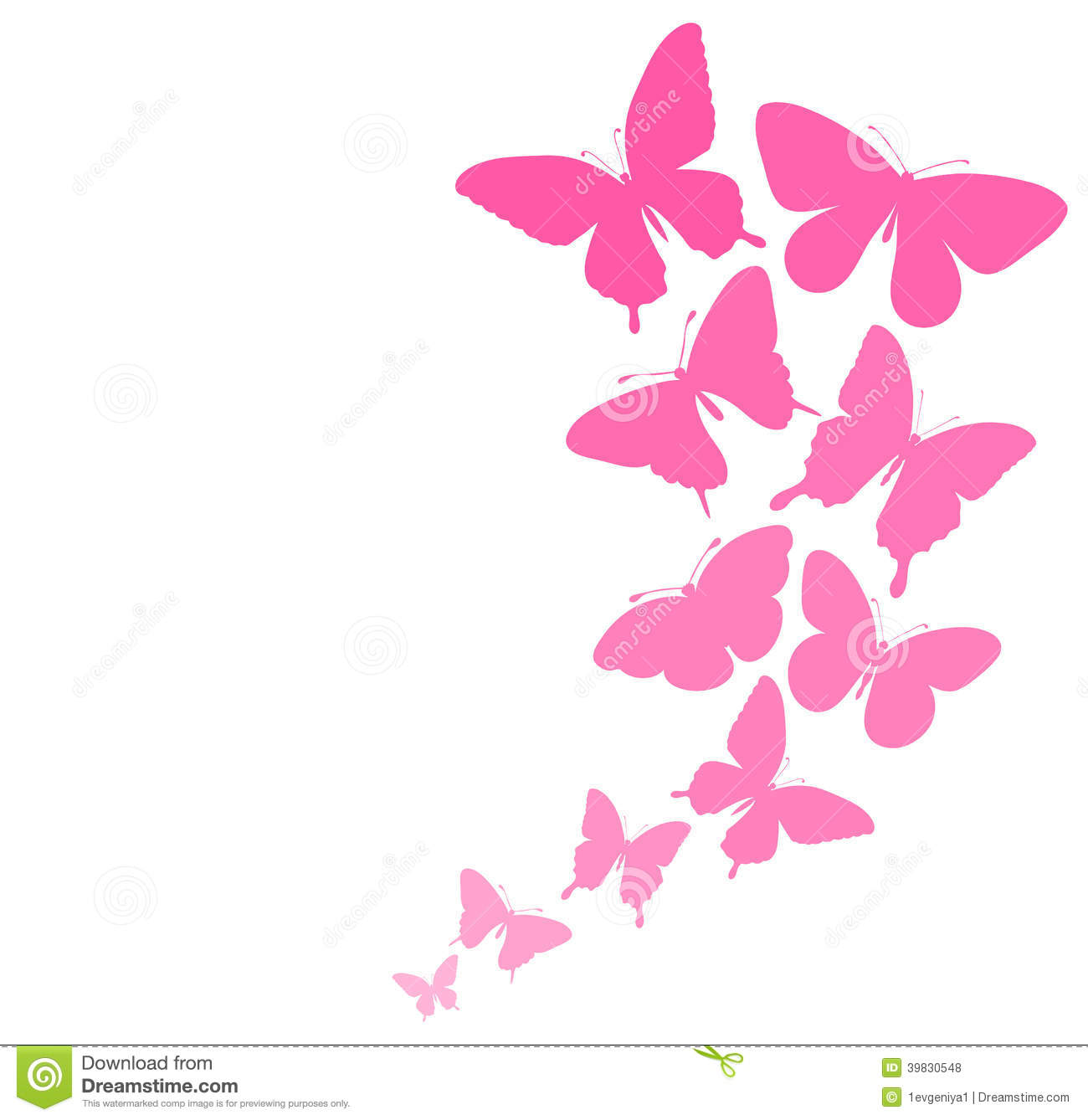 Background With A Border Of Butterflies Flying. Stock Illustration - Image: 39830548