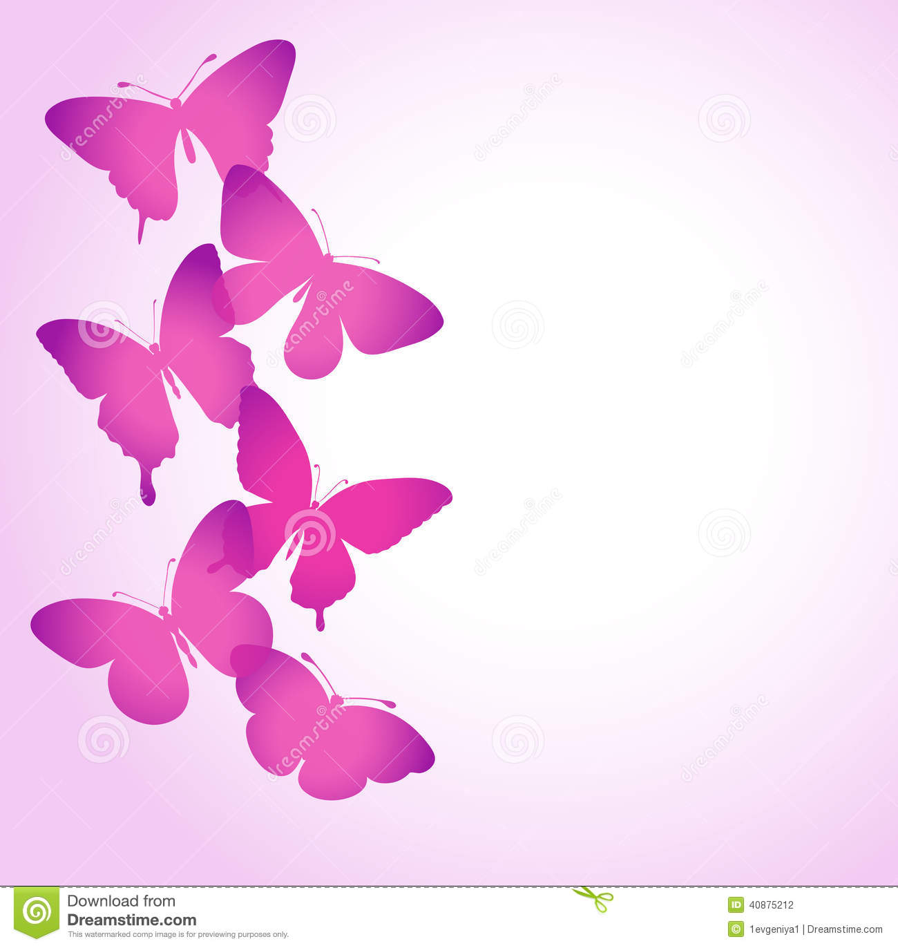 Background With A Border Of Butterflies Flying. Stock Illustration ...