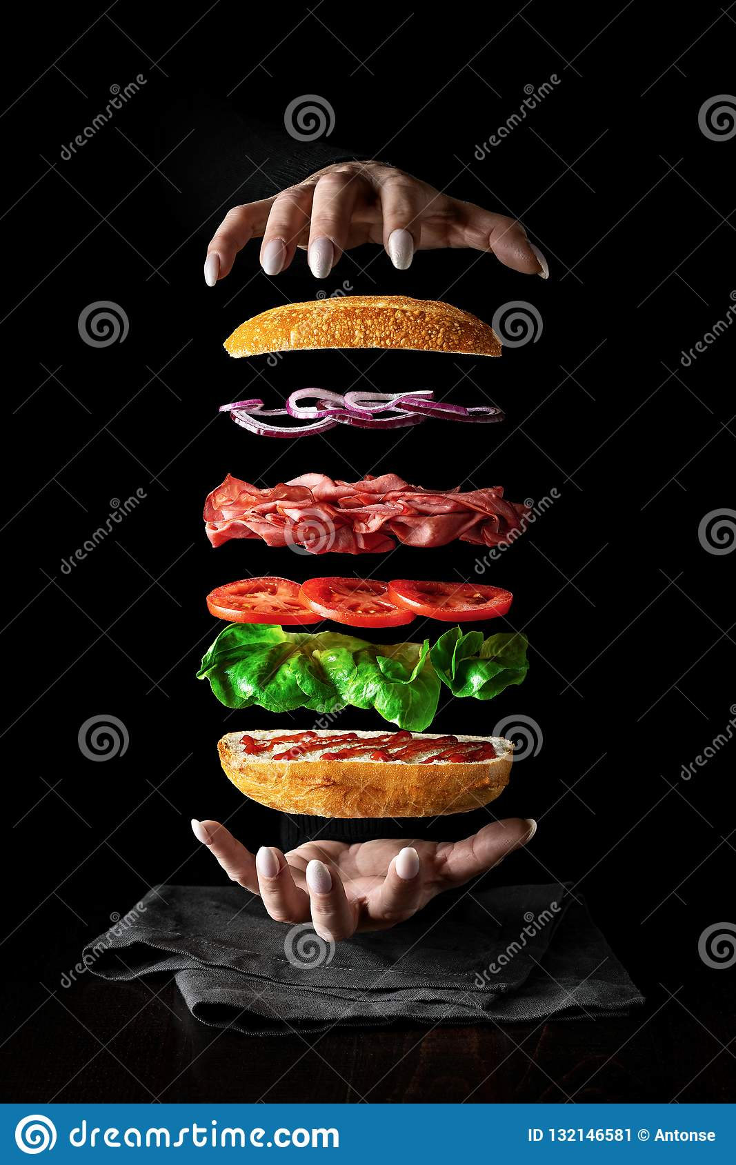 Food levitation. sandwich