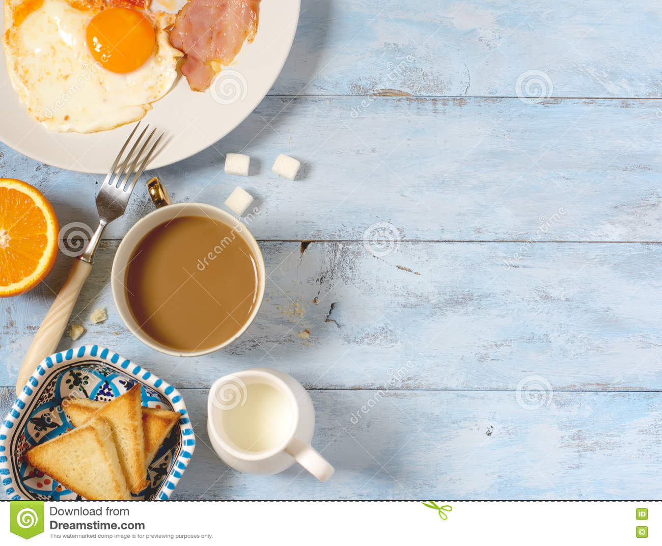 Background Breakfast Fried Eggs, Coffee And Toast Stock Photo - Image: 79157933