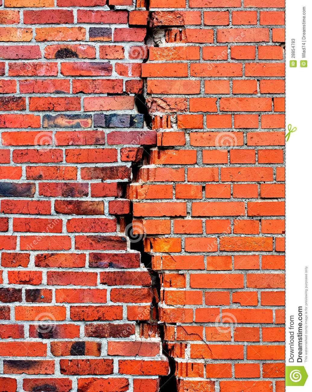 Background Brick Wall With Crack Stock Image Image Of