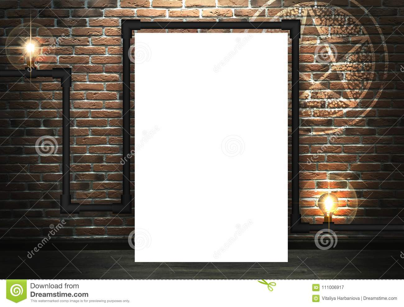 Brick Wall Background, Lighting A Light Bulb Stock Illustration ...