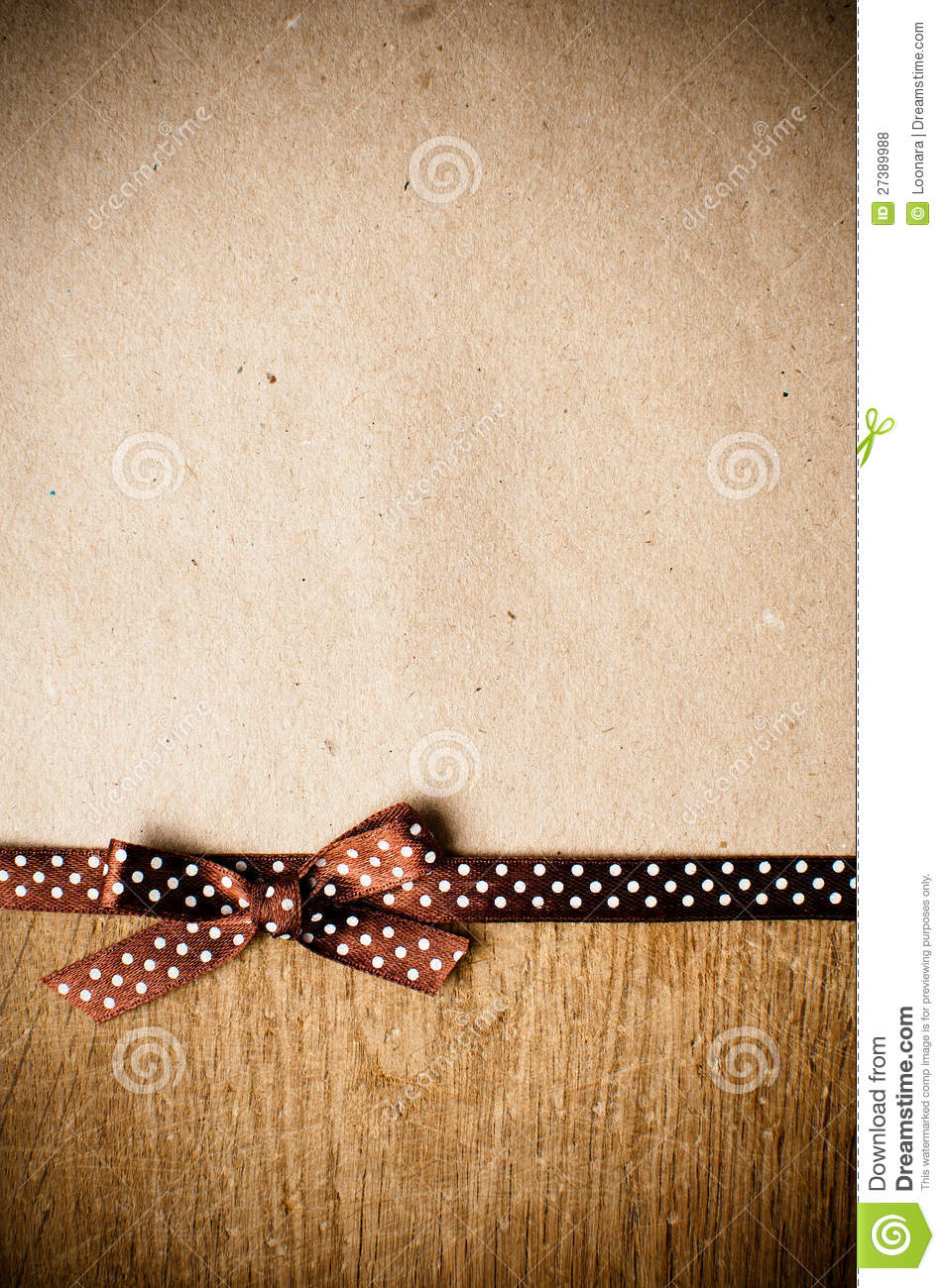 Background With Brown Ribbon And Kraft Paper Stock Photo