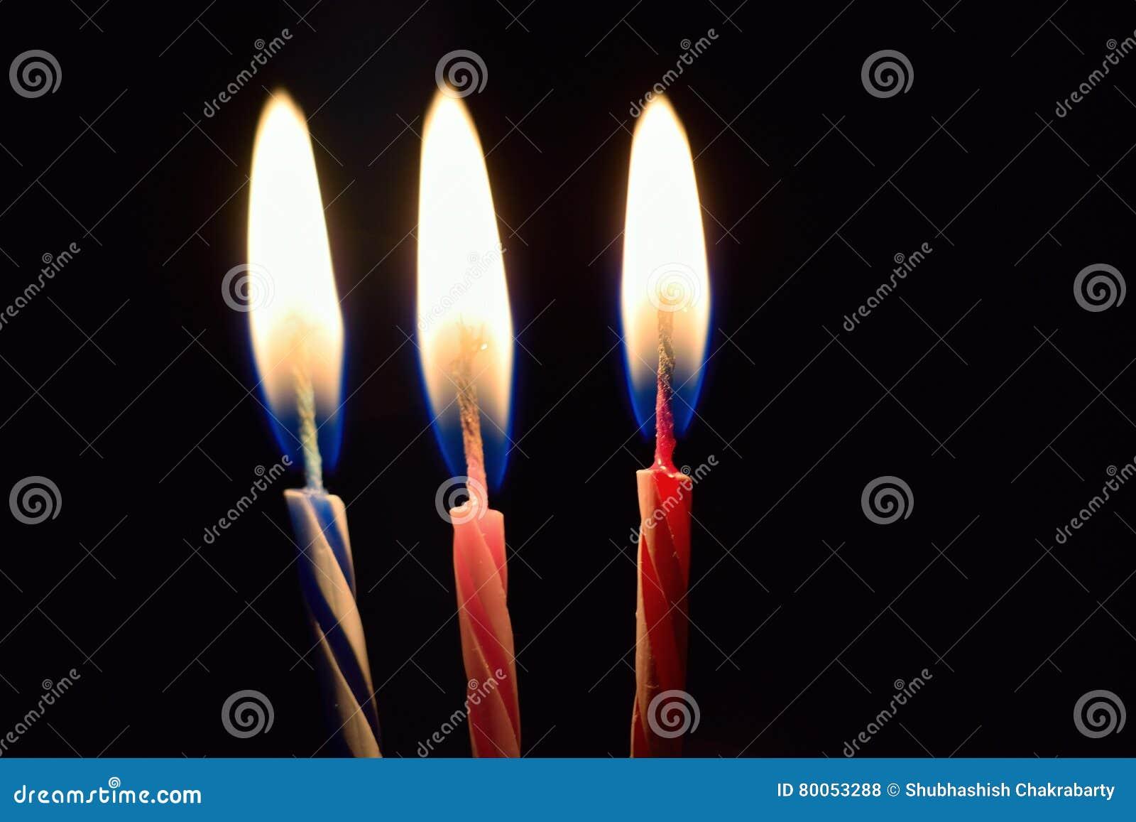 Background Burning Birthday Cake Candles