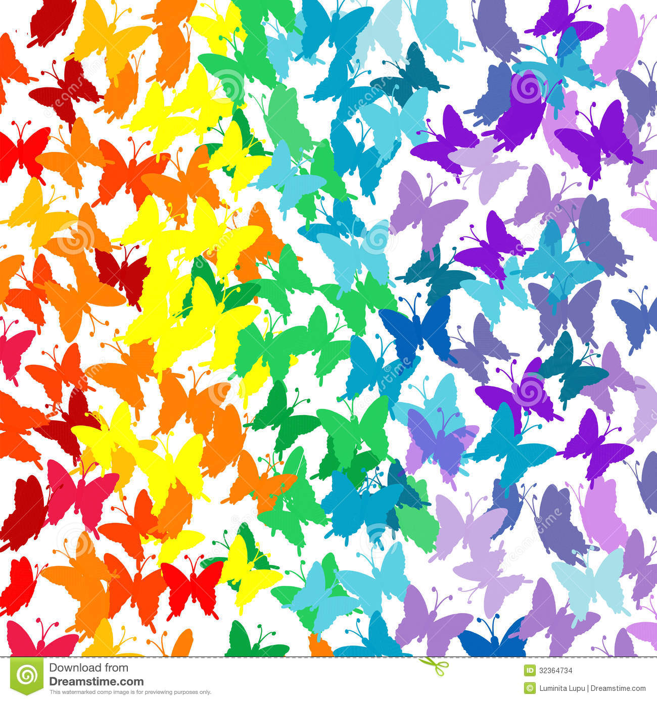 Background With Butterflies In Rainbow Colors Stock Illustration