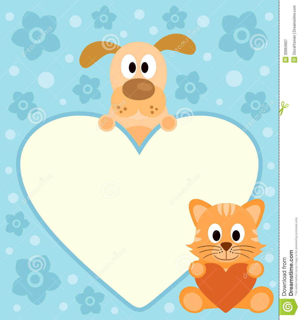 Background Card With Cartoon Dog And Cat Royalty Free Stock Photography - Image: 30664907