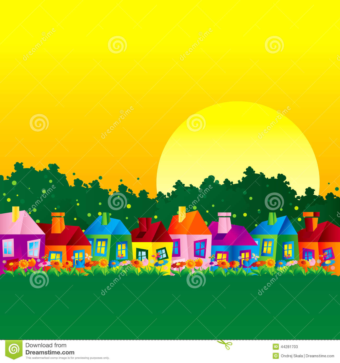 Background Caricature House Stock Vector Image 44281703
