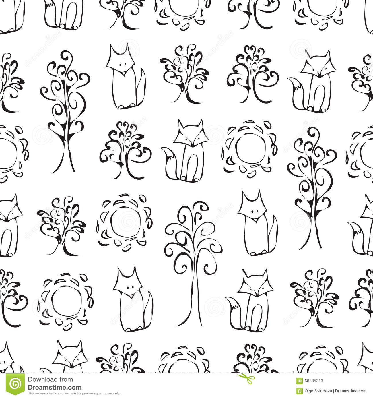 Cute forest animals black and white