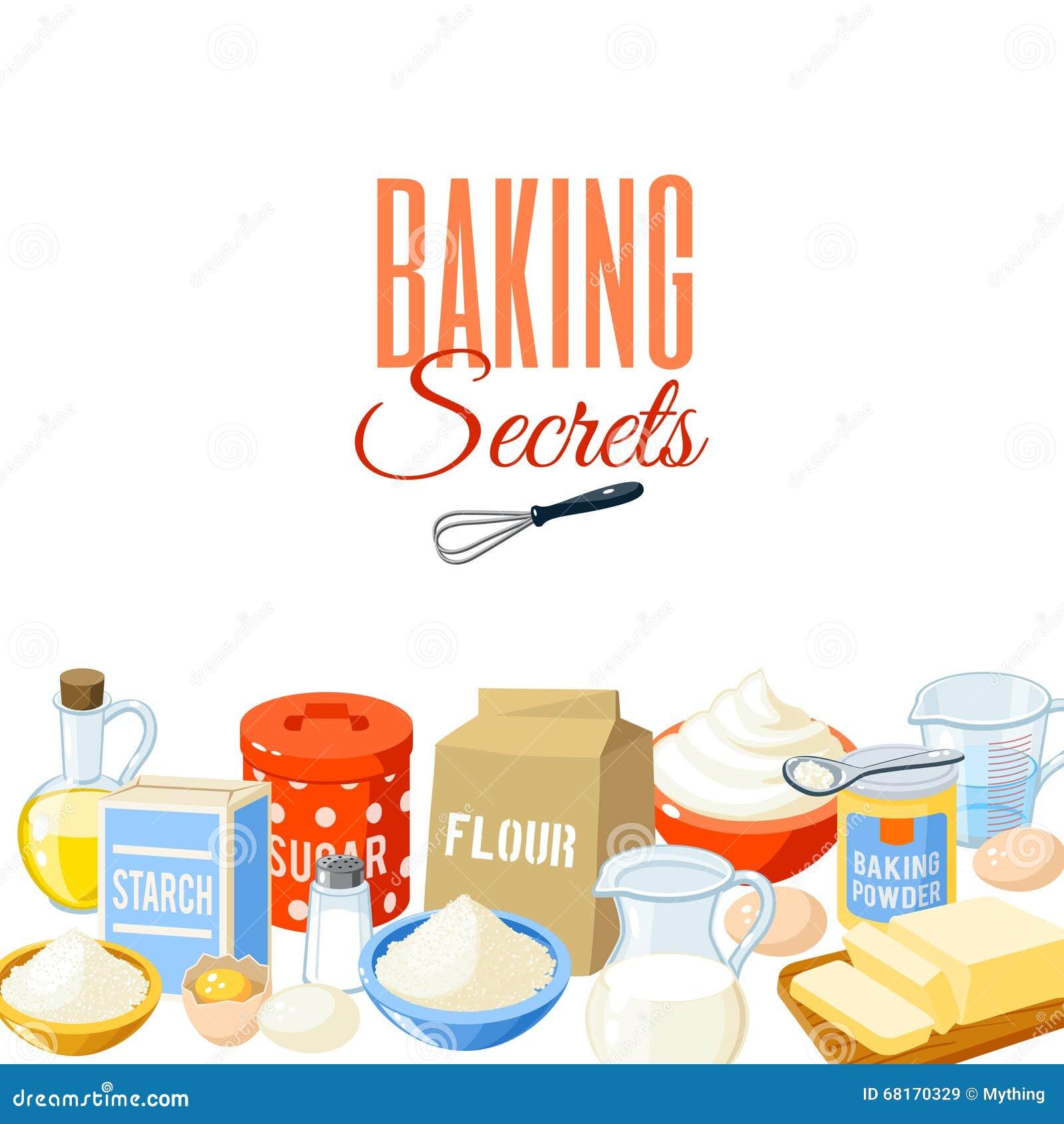 Background With Cartoon Food: Baking Ingredients. Vector ...