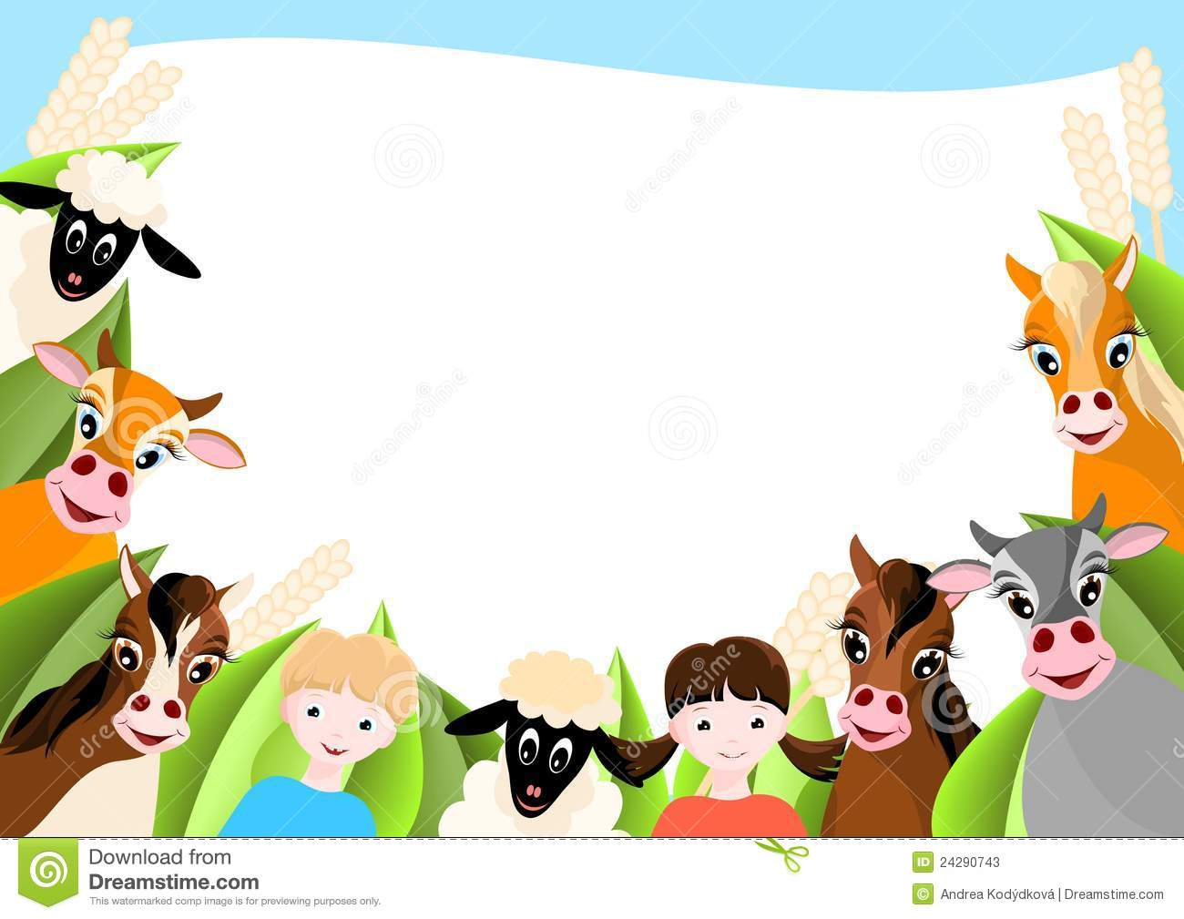Background With Children And Happy Farm Animals Stock Photos - Image ...