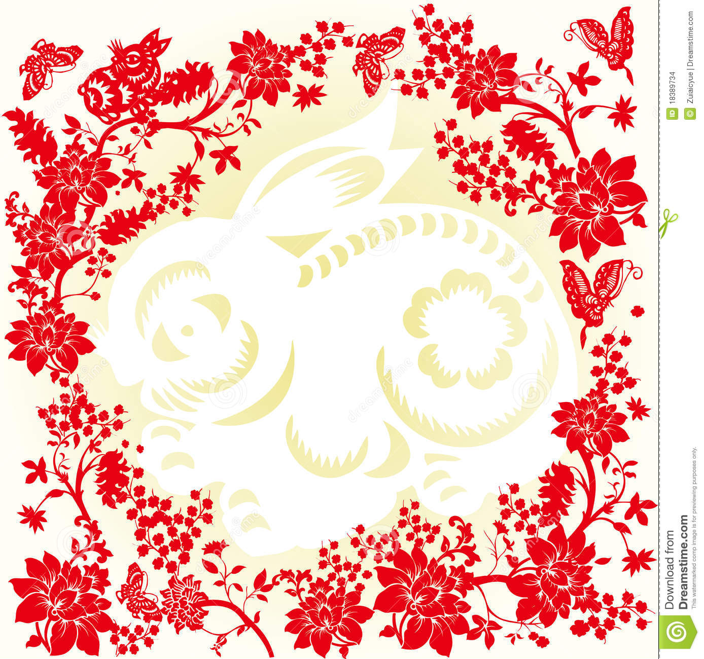 Background Of Chinese Paper Cut Stock Vector Illustration Of Craft