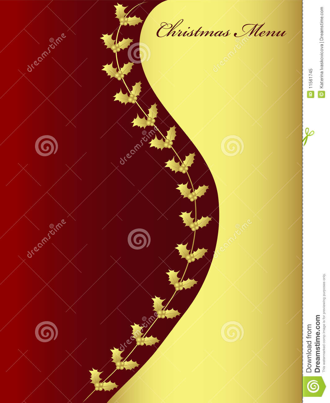 Background For Christmas Menu Vector Stock Vector