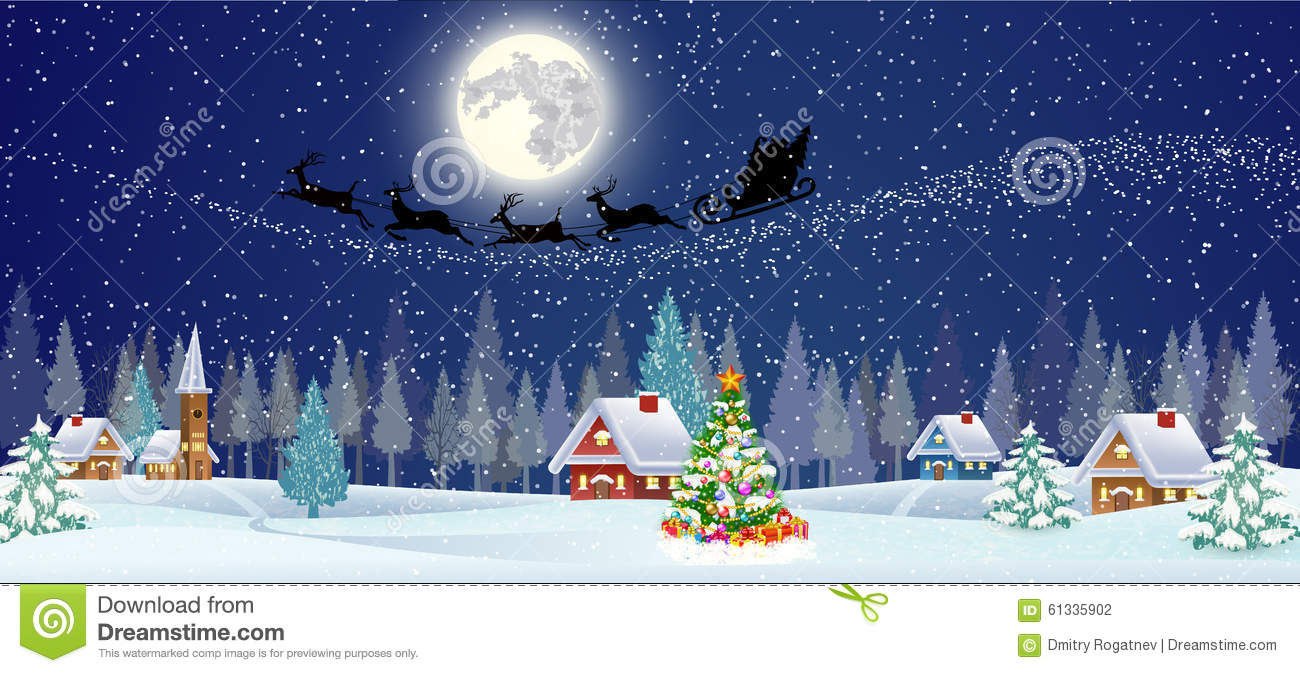 Download Background With Christmas Tree And Night Village Stock Vector