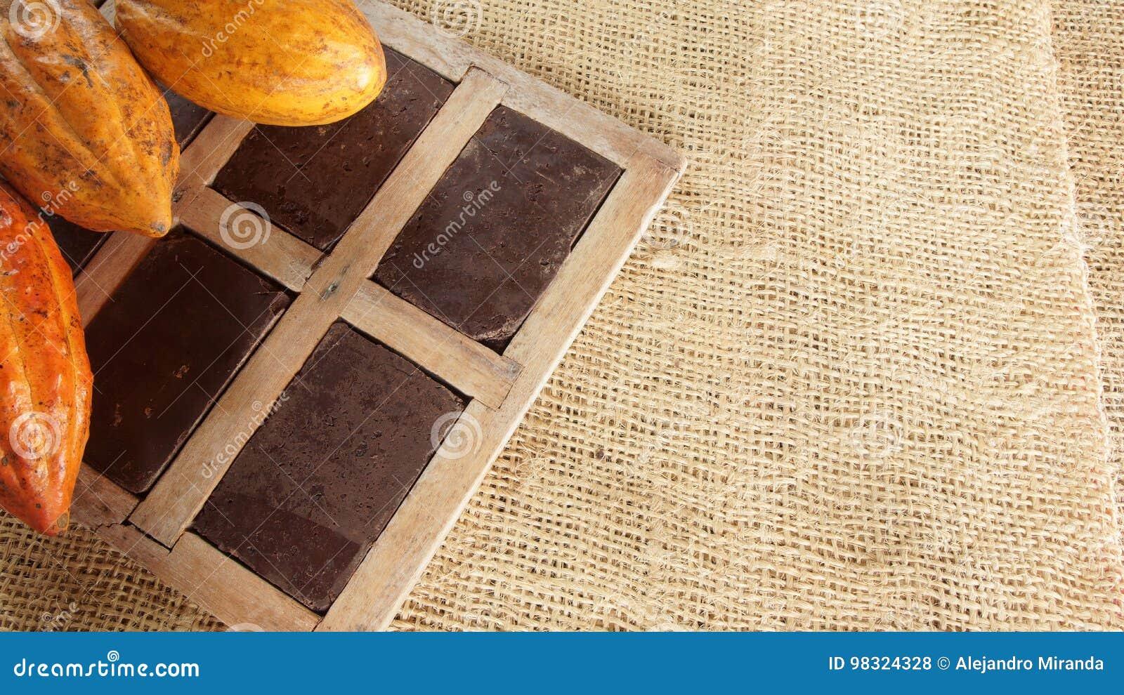 Close-up Of Handmade Chocolate Blocks Inside Rustic Wooden Frames ...
