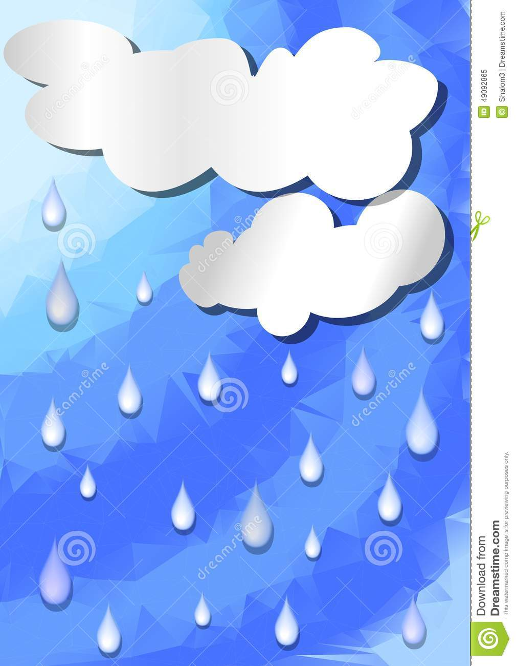 Abstract background with clouds cut out paper and raindrops on ...