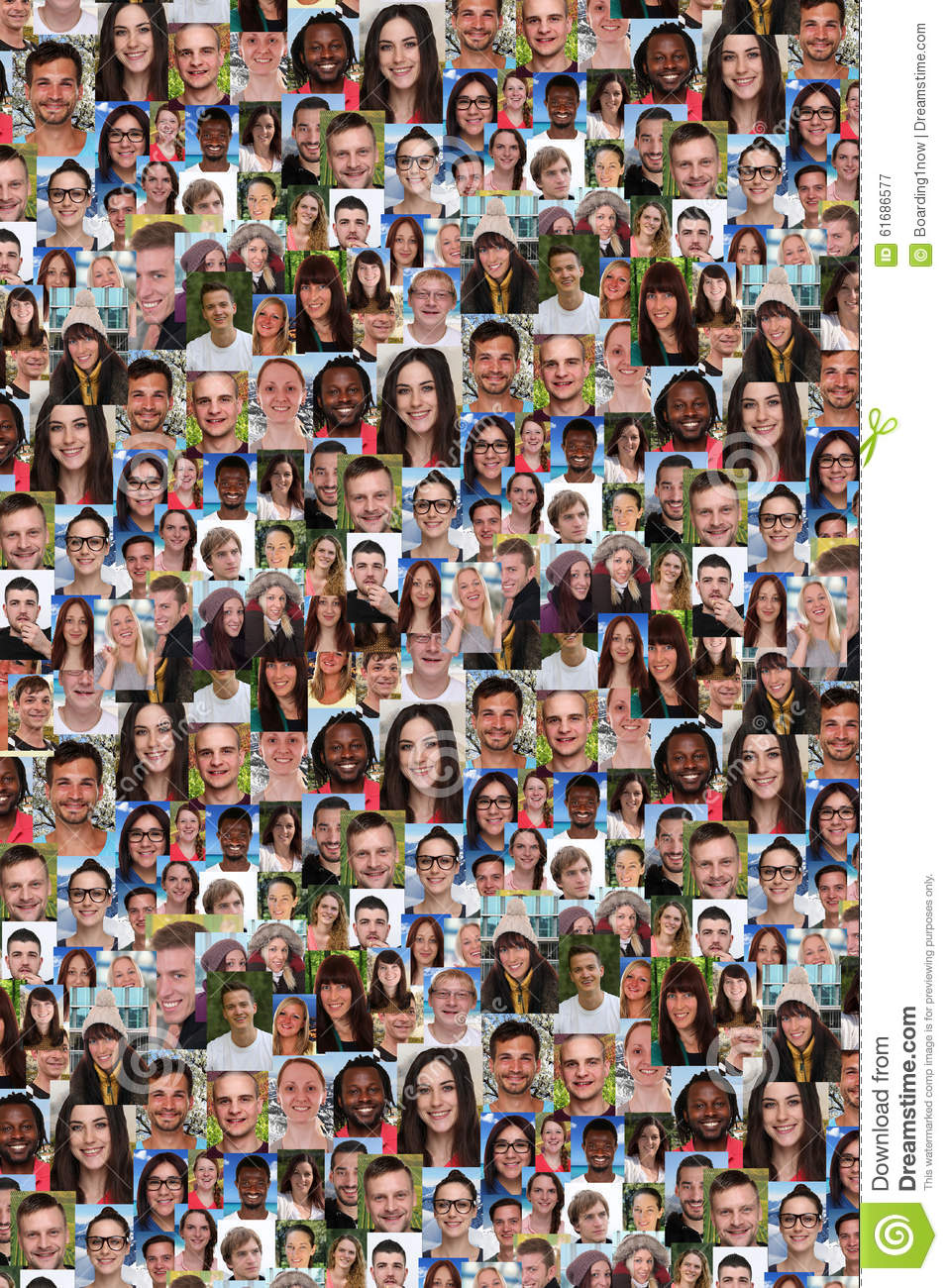 Background collage group of multiracial young people social media