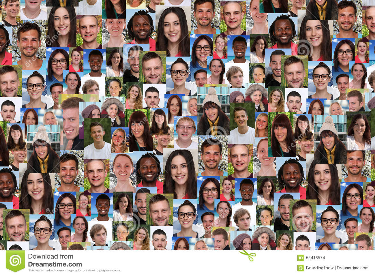 Background collage large group of multiracial young smiling peop