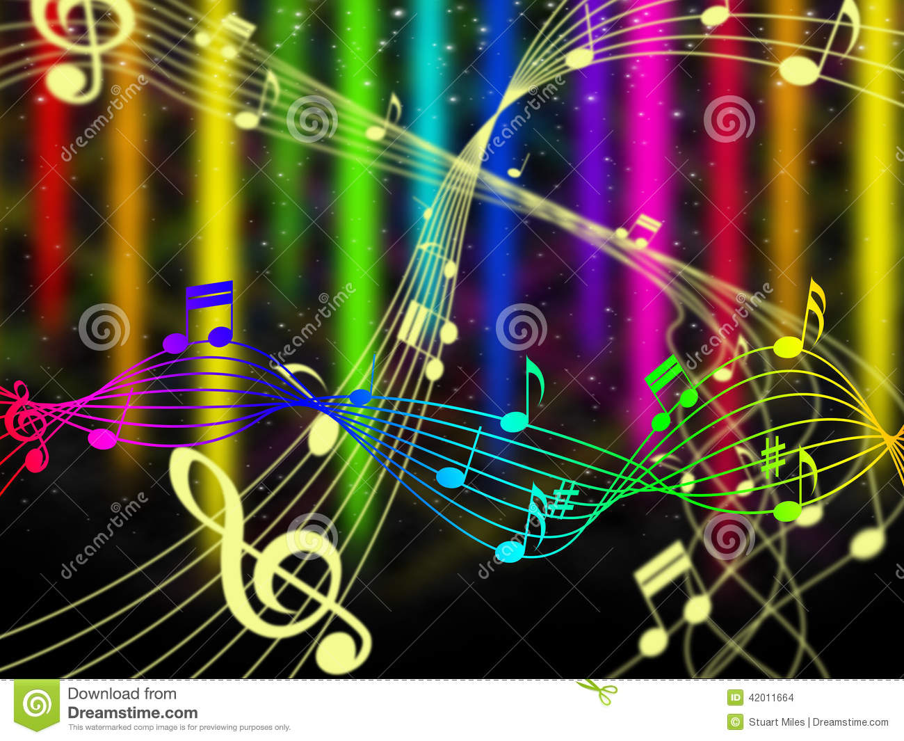 ... Shows Music Note And Acoustic Stock Illustration - Image: 42011664