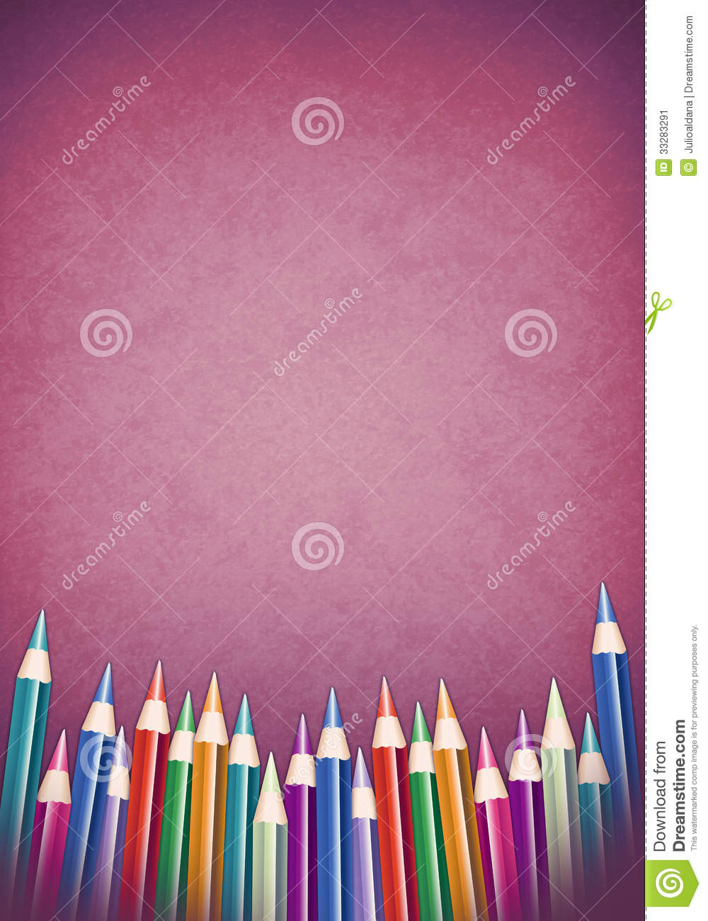 background with colored pencils - school poster template stock illustration