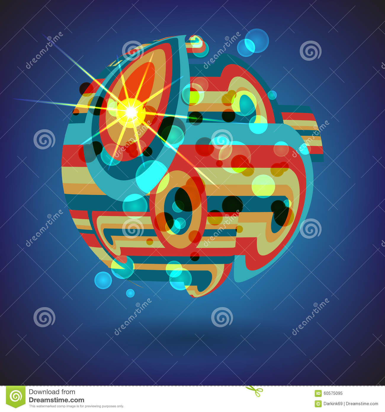 Line Shape Space : Background of colorful lines in the shape balls stock