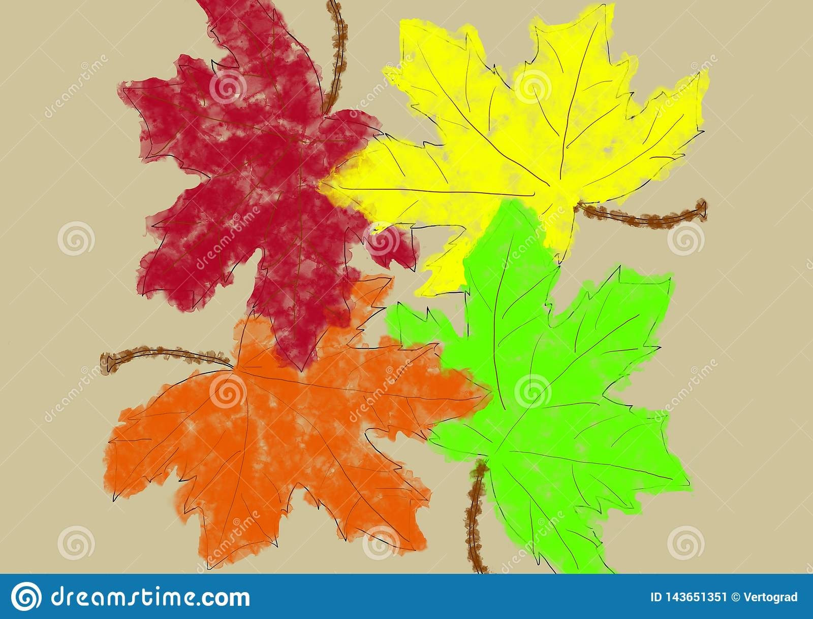 Background colorful maple leaves in an abstract style