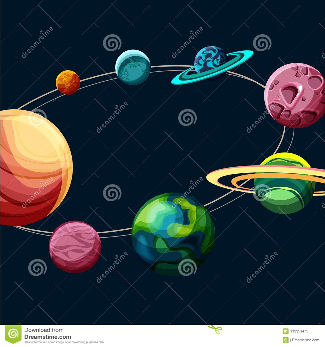 Background with colorful planets of solar system stock vector download background with colorful planets of solar system stock vector illustration of pink ccuart Image collections