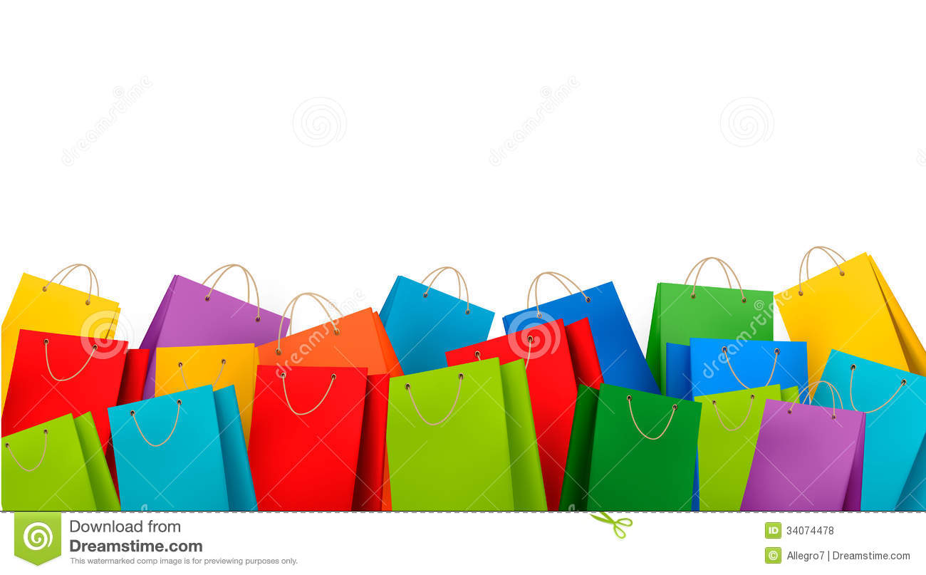Background With Colorful Shopping Bags Discount C Illustration