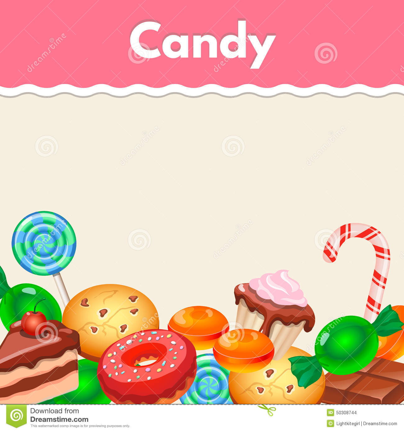 background with colorful sticker candy sweets and stock