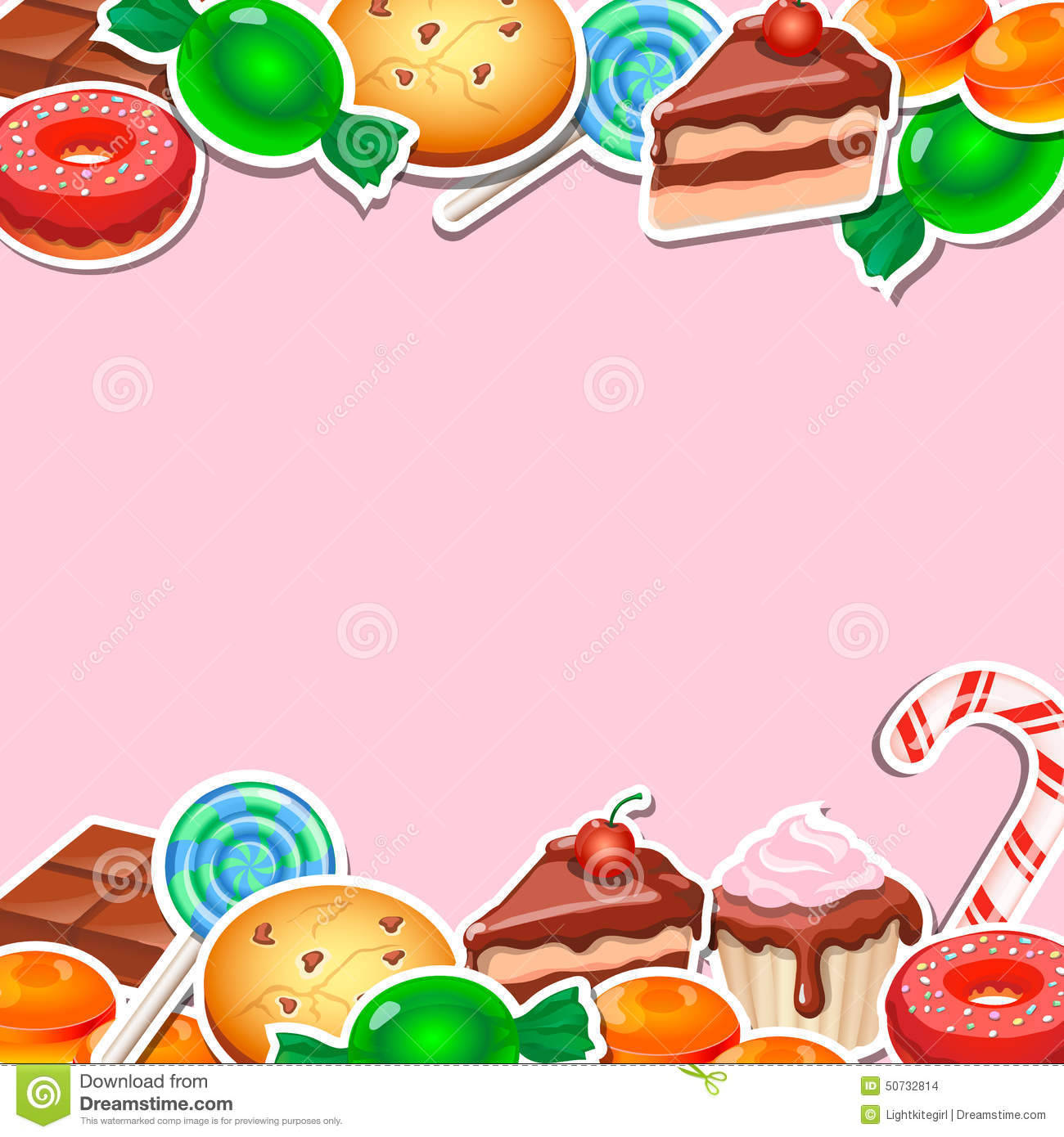 background with colorful sticker candy sweets stock