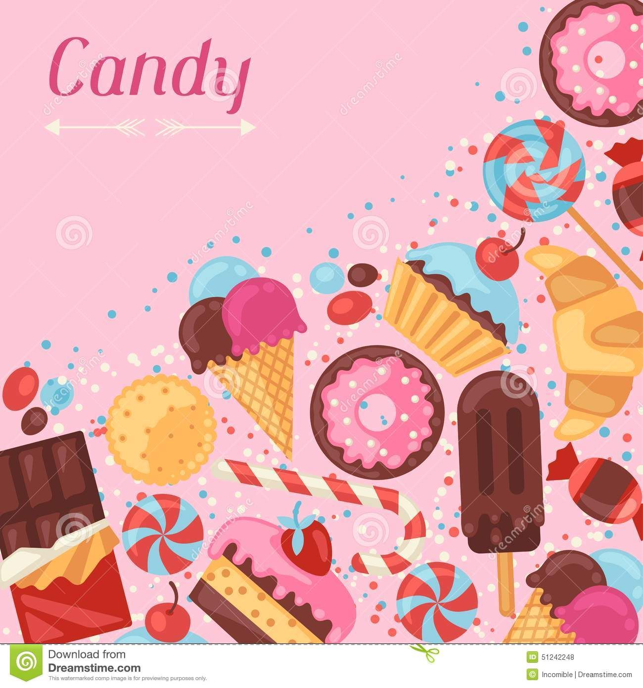 background with colorful various candy sweets and stock