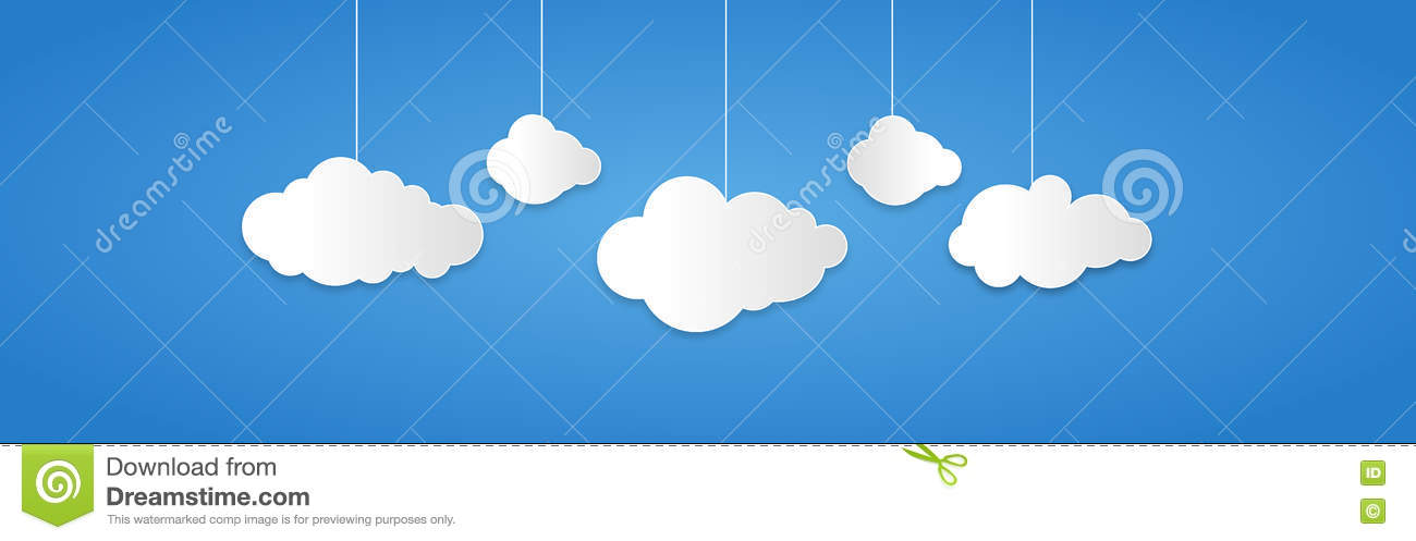 Background composed of white paper clouds over blue. vector illustration.
