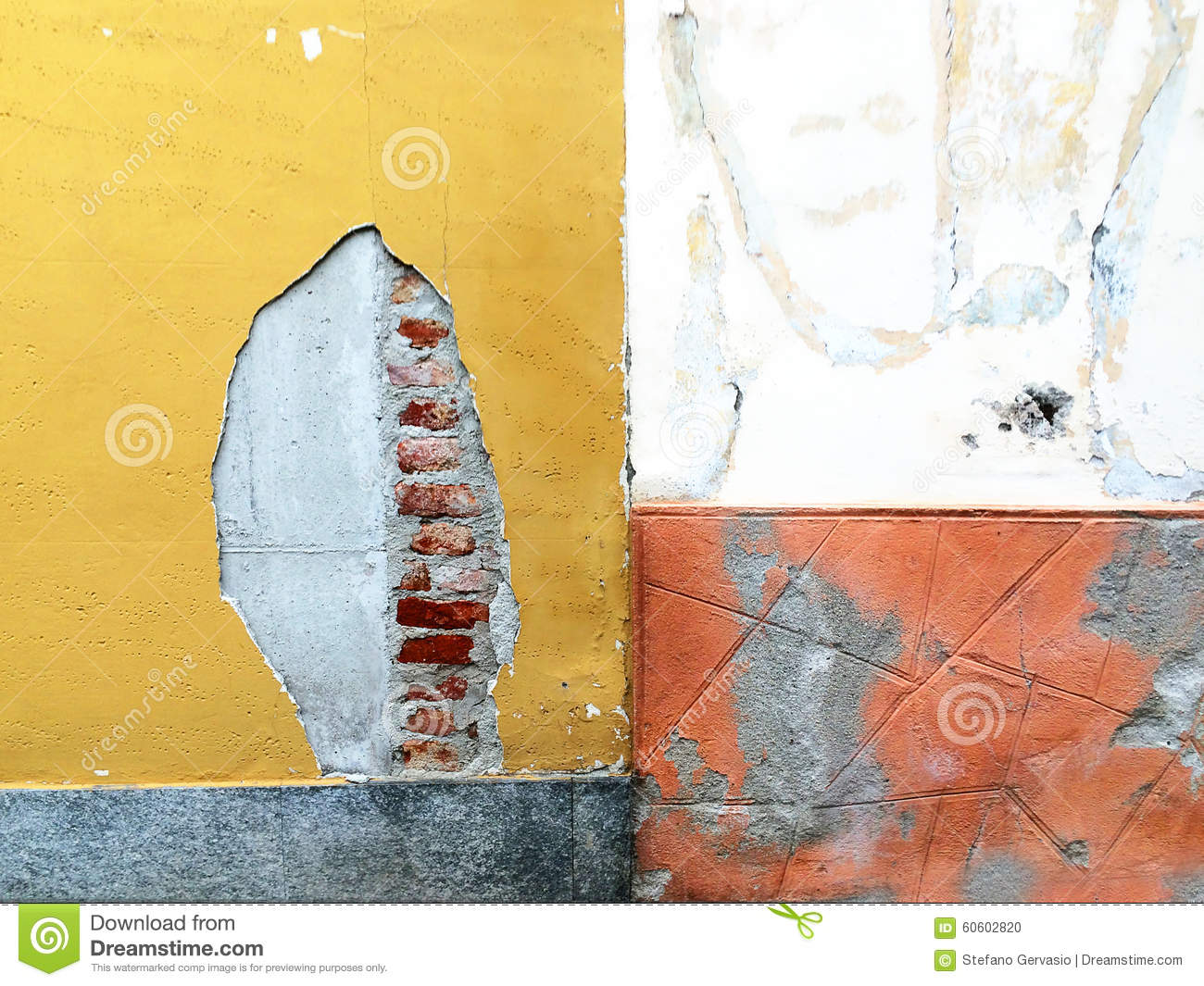Orange Cement Wall : Background concrete wall stock photo image