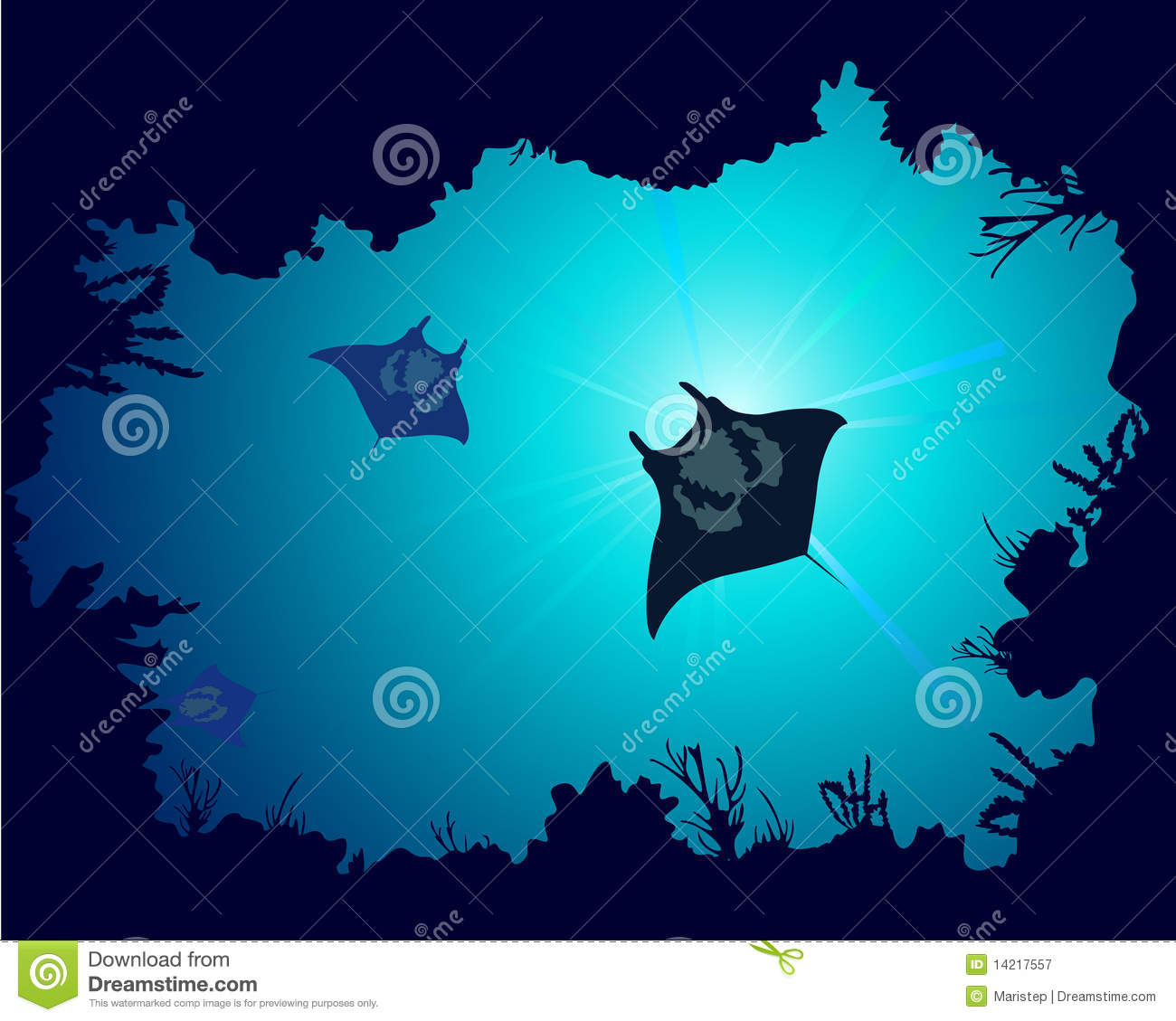 Coral Reef Background: Background Of A Coral Reef With Manta Ray Royalty Free