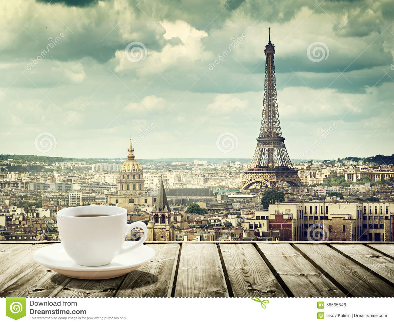 Outdoor cafe in paris with tower in background - Background With Cup Of Coffee And Eiffel Tower In Paris Royalty Free Stock Photos