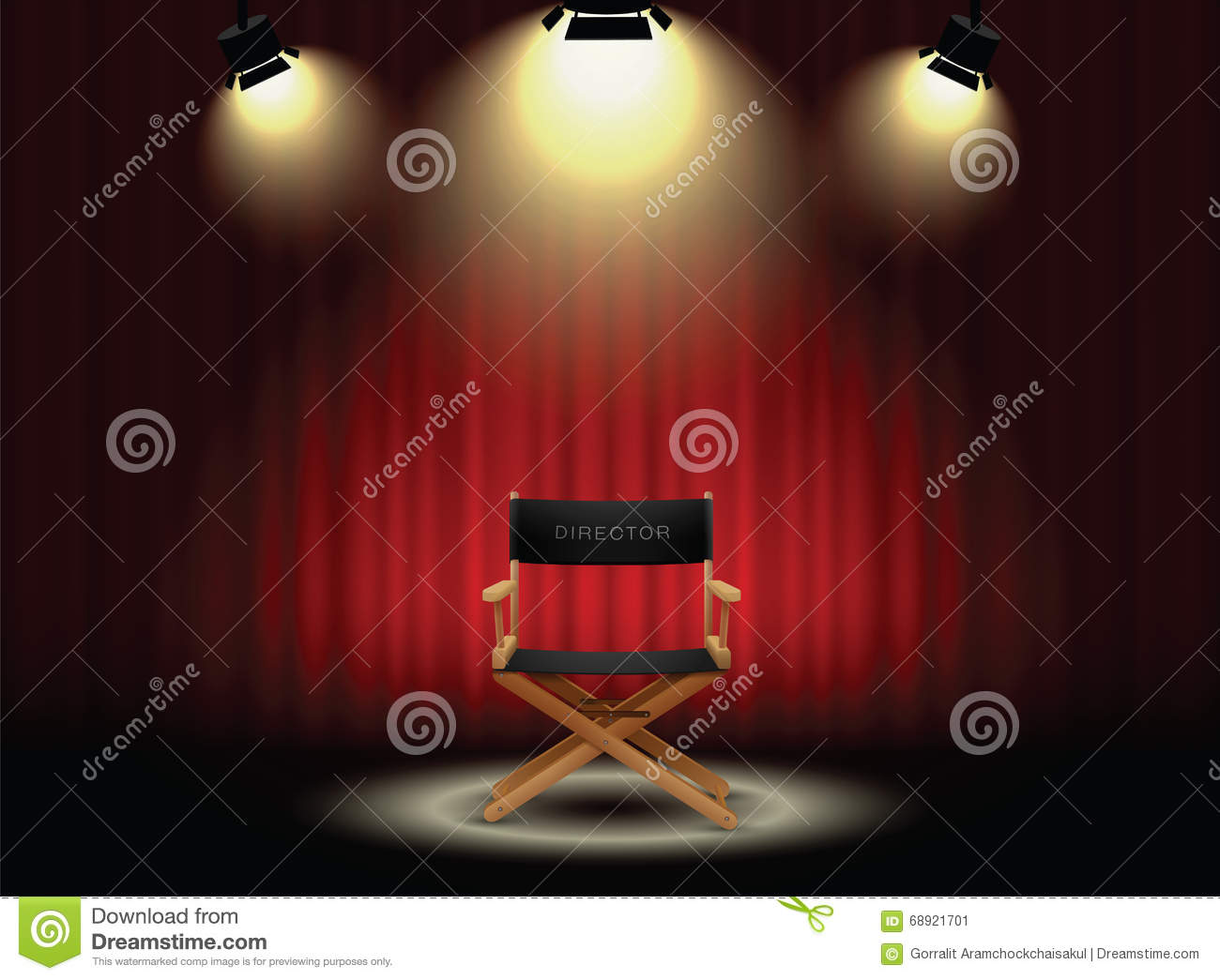 Theater curtains download free vector art stock graphics amp images - Background Curtain And Director S Chair With Spotlight Stock Vector