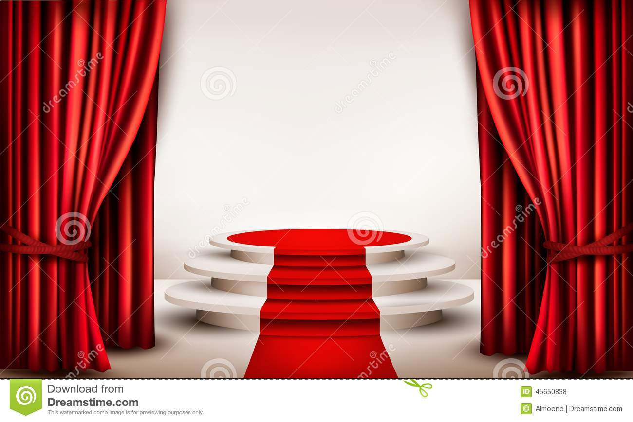 Background With Curtains And Red Carpet Leading To A