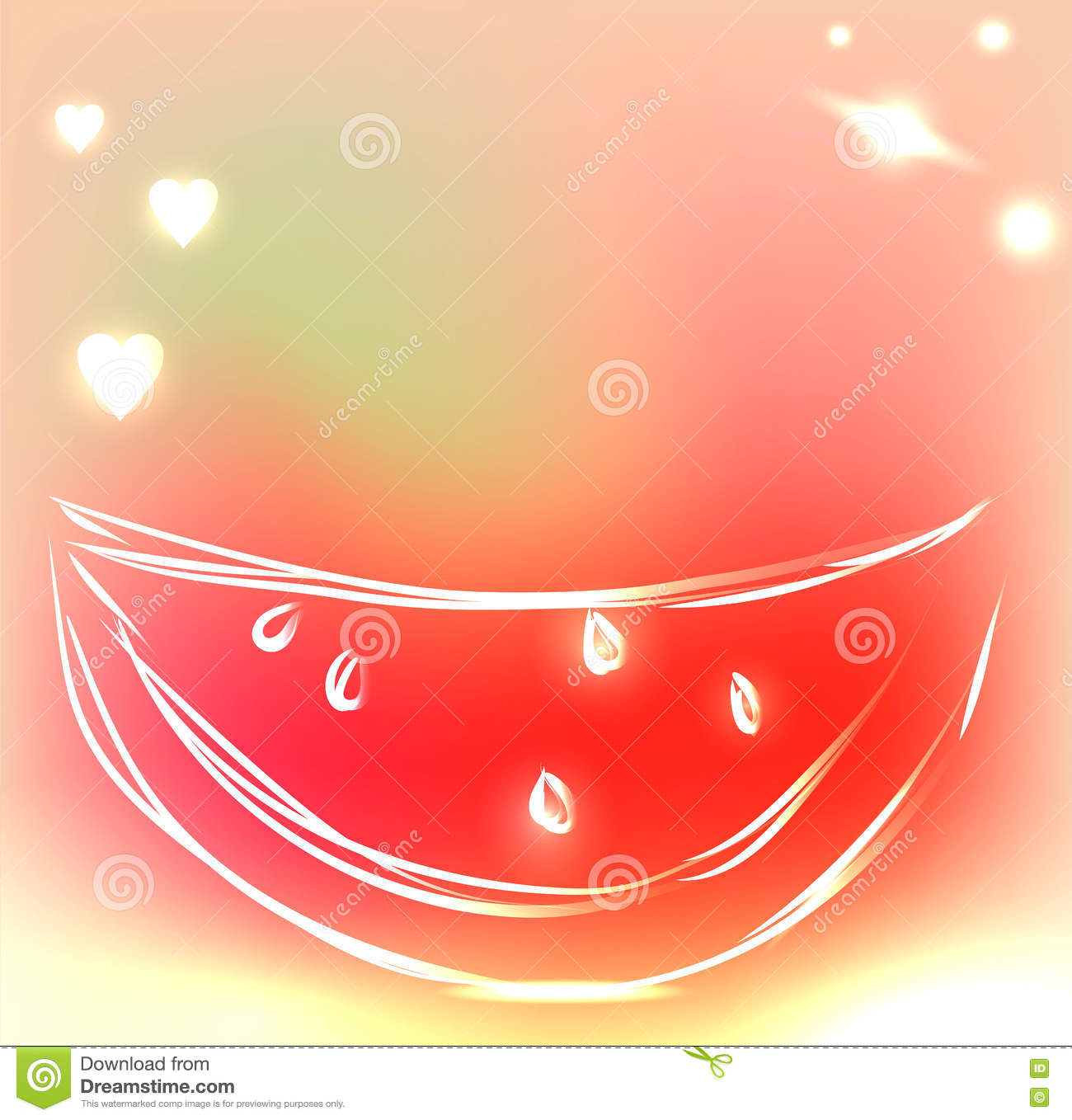 Ice Cream Background Sparking Shiny Decoration Free Vector: Background With Cute Watermelon In Beautiful Colors