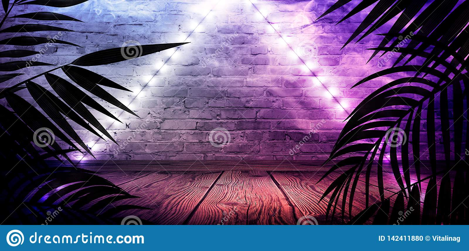 Background of the dark room, tunnel, corridor, neon light, lamps, tropical leaves.