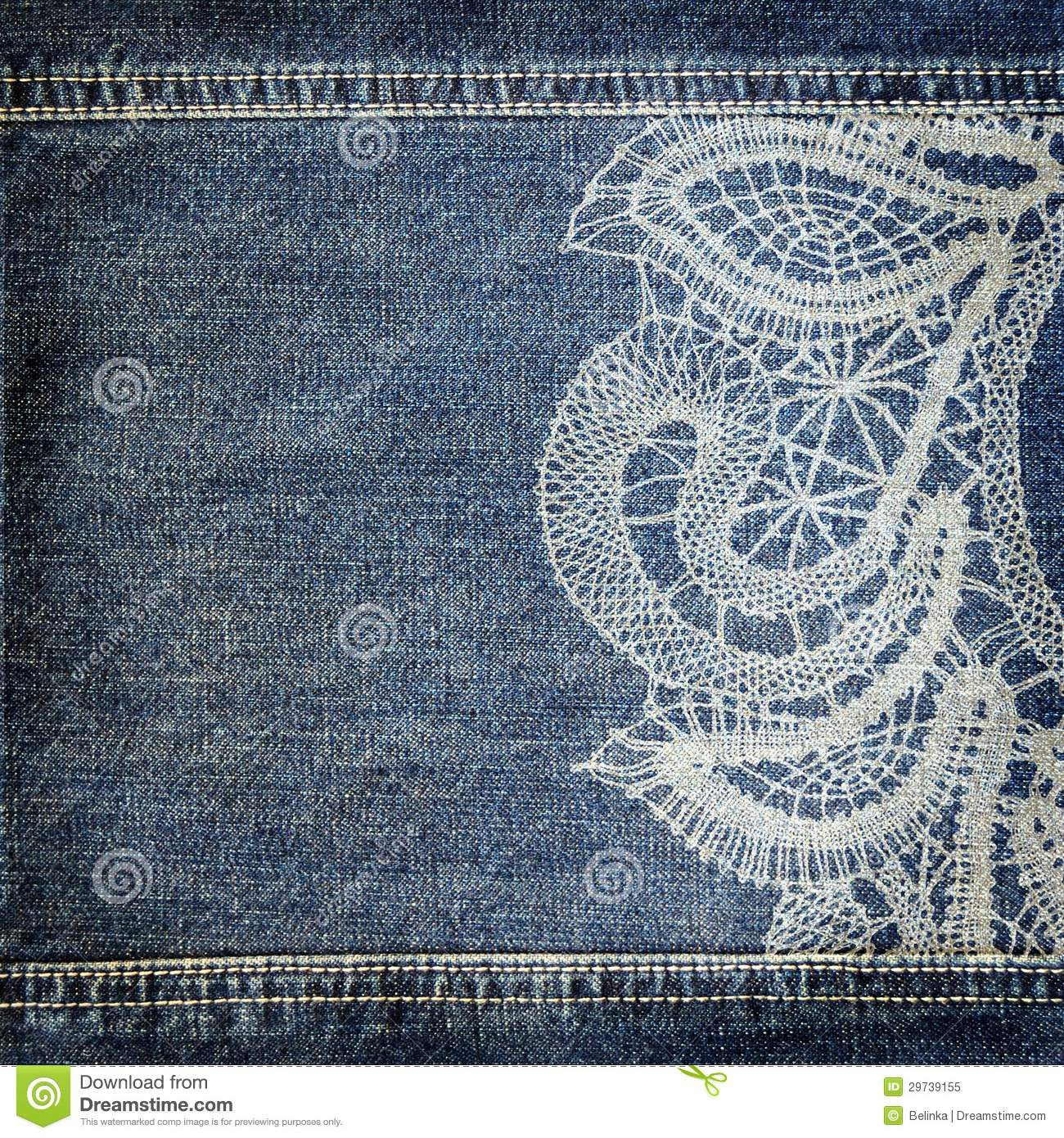 background denim texture with lace pattern stock