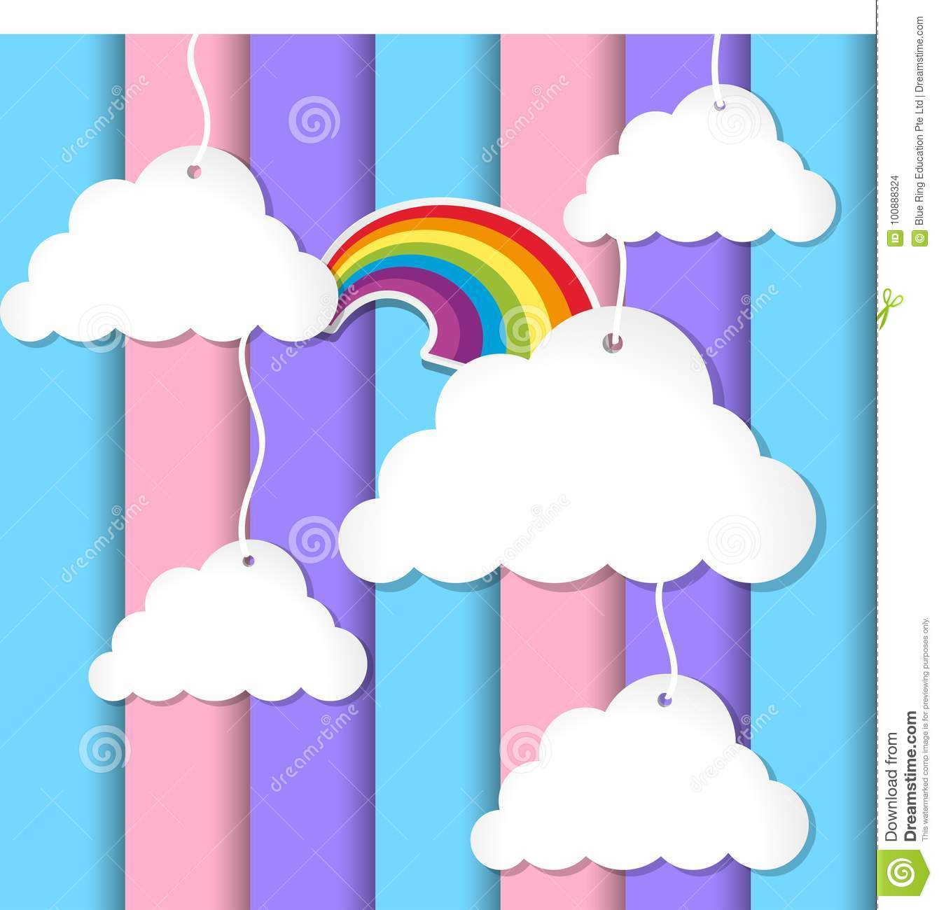 Background design with clouds and rainbow on colorful sky