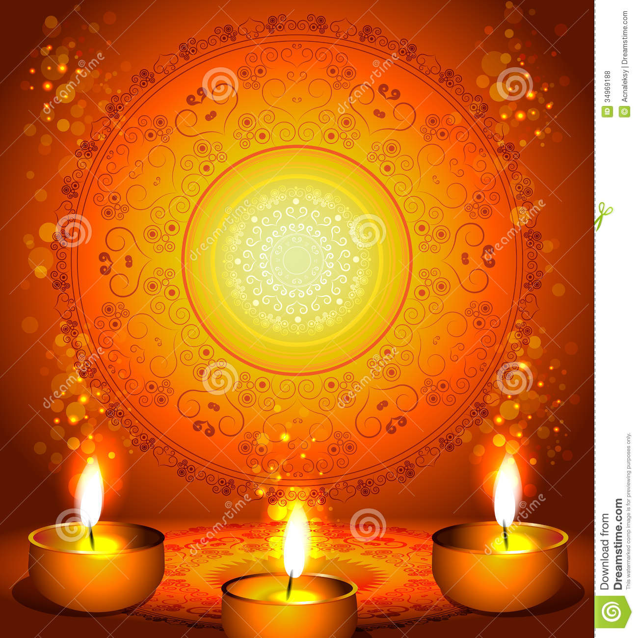Background For Diwali Festival With Lamps Royalty Free