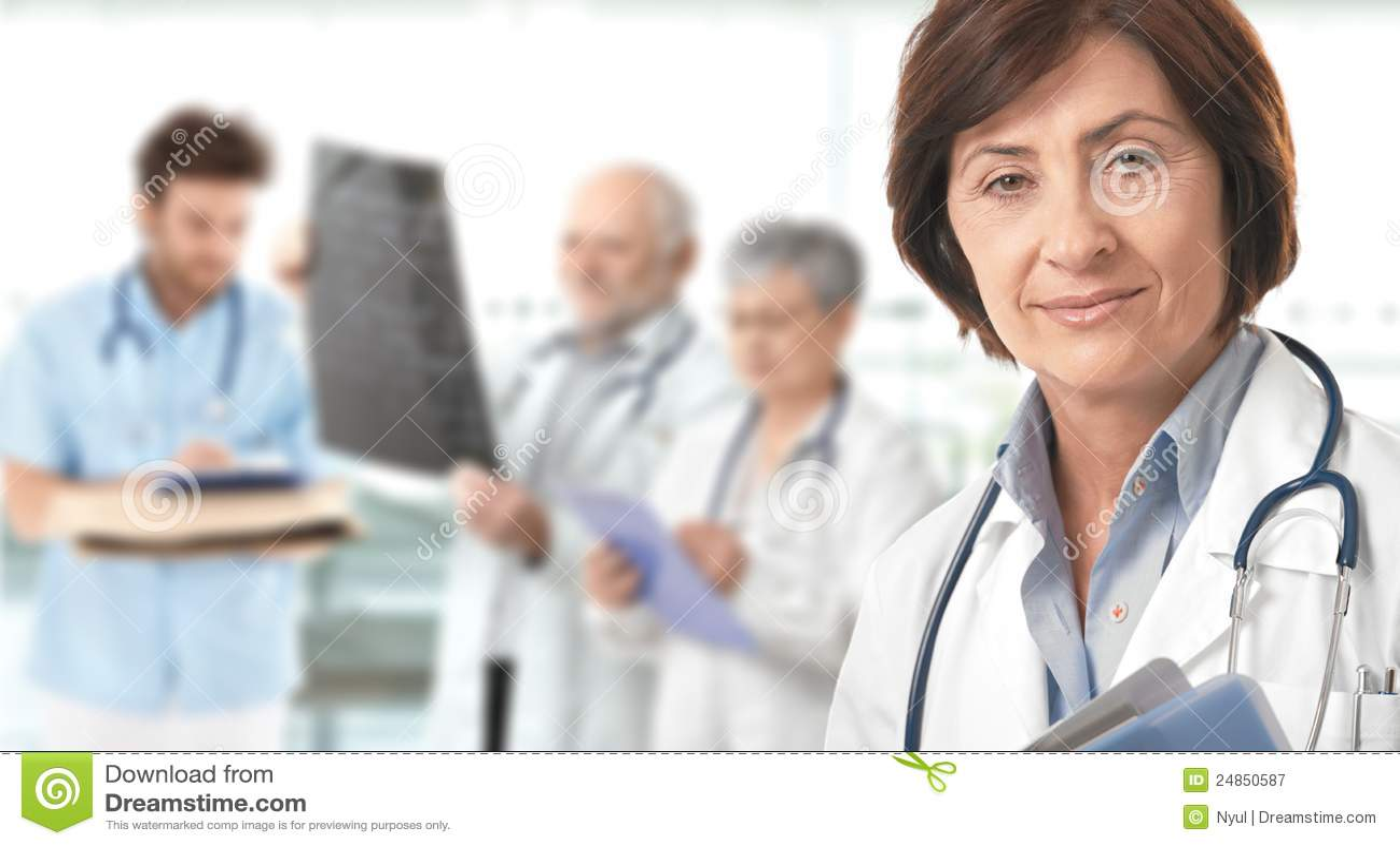 Background doctor female medical senior team