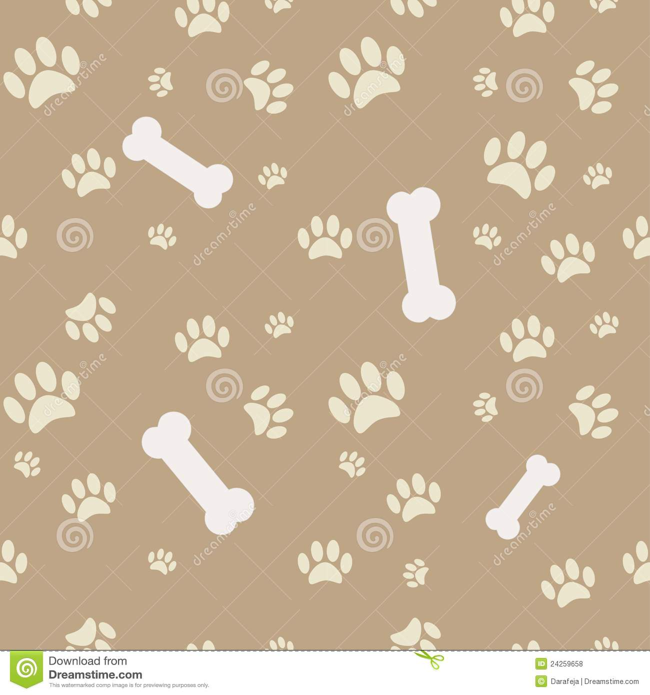 Background with dog paw print and bone