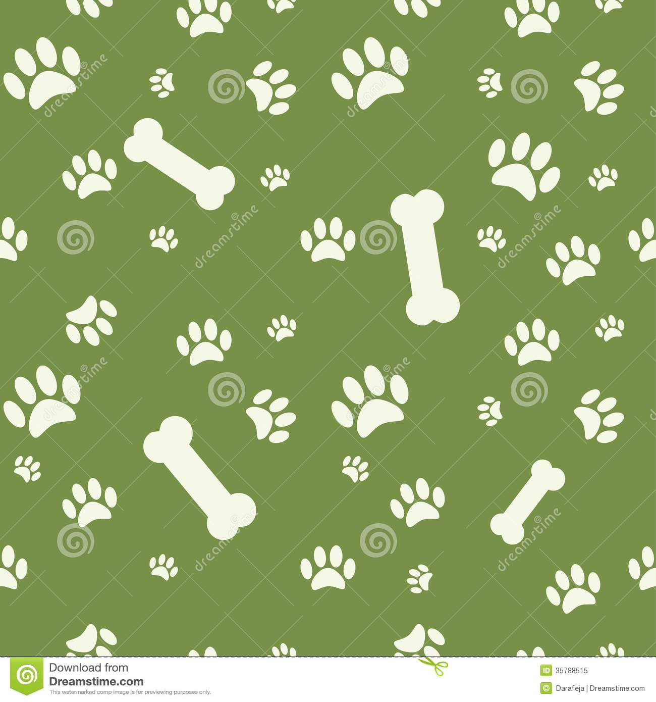 background with dog paw print and bone on green royalty free stock