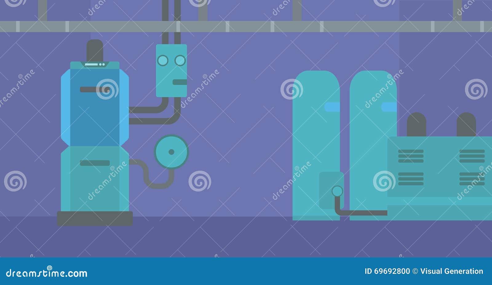 Background Of Domestic Household Boiler Room. Stock Vector ...