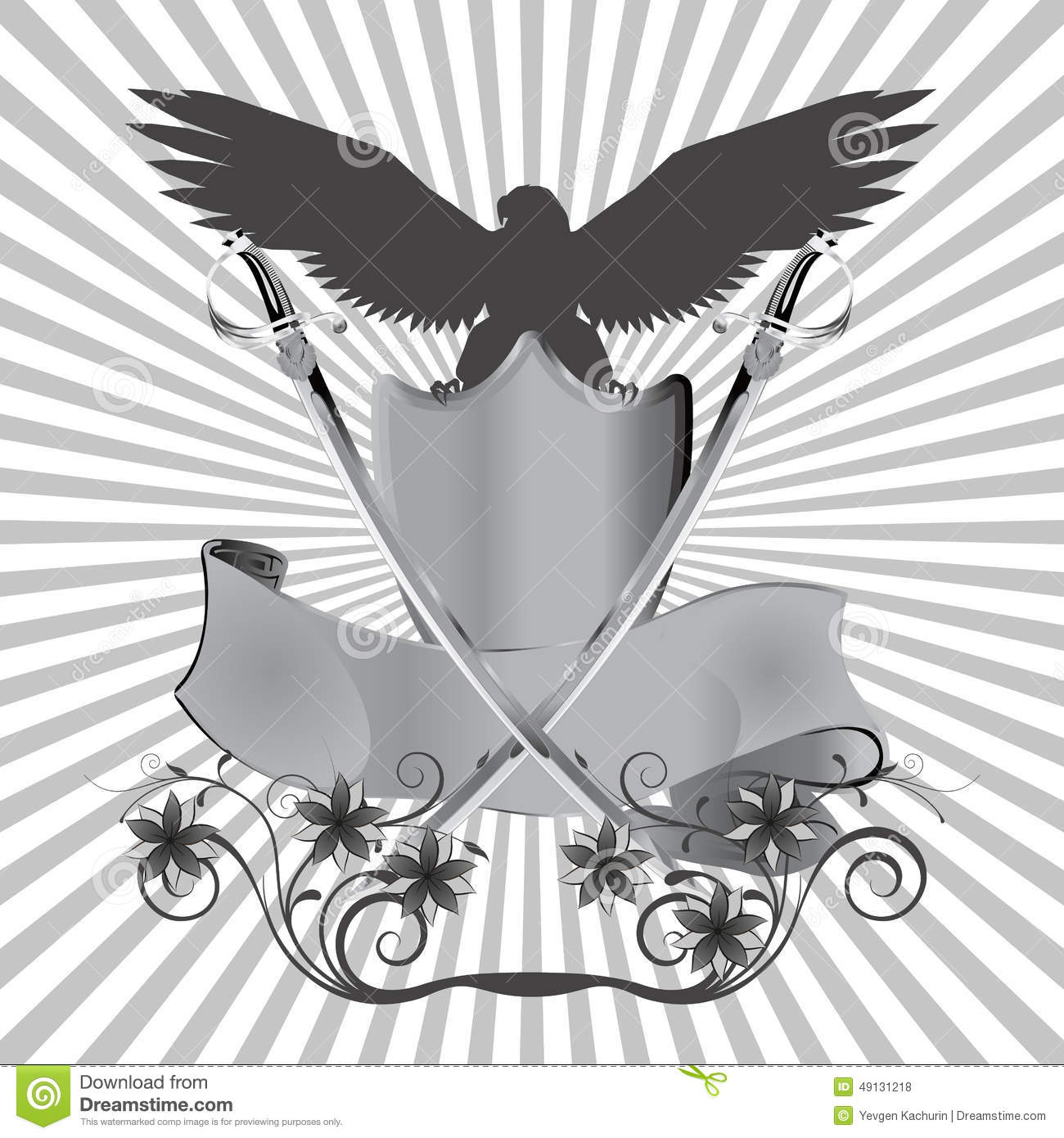 Background Eagle On Shield With Swords And Flowers Stock