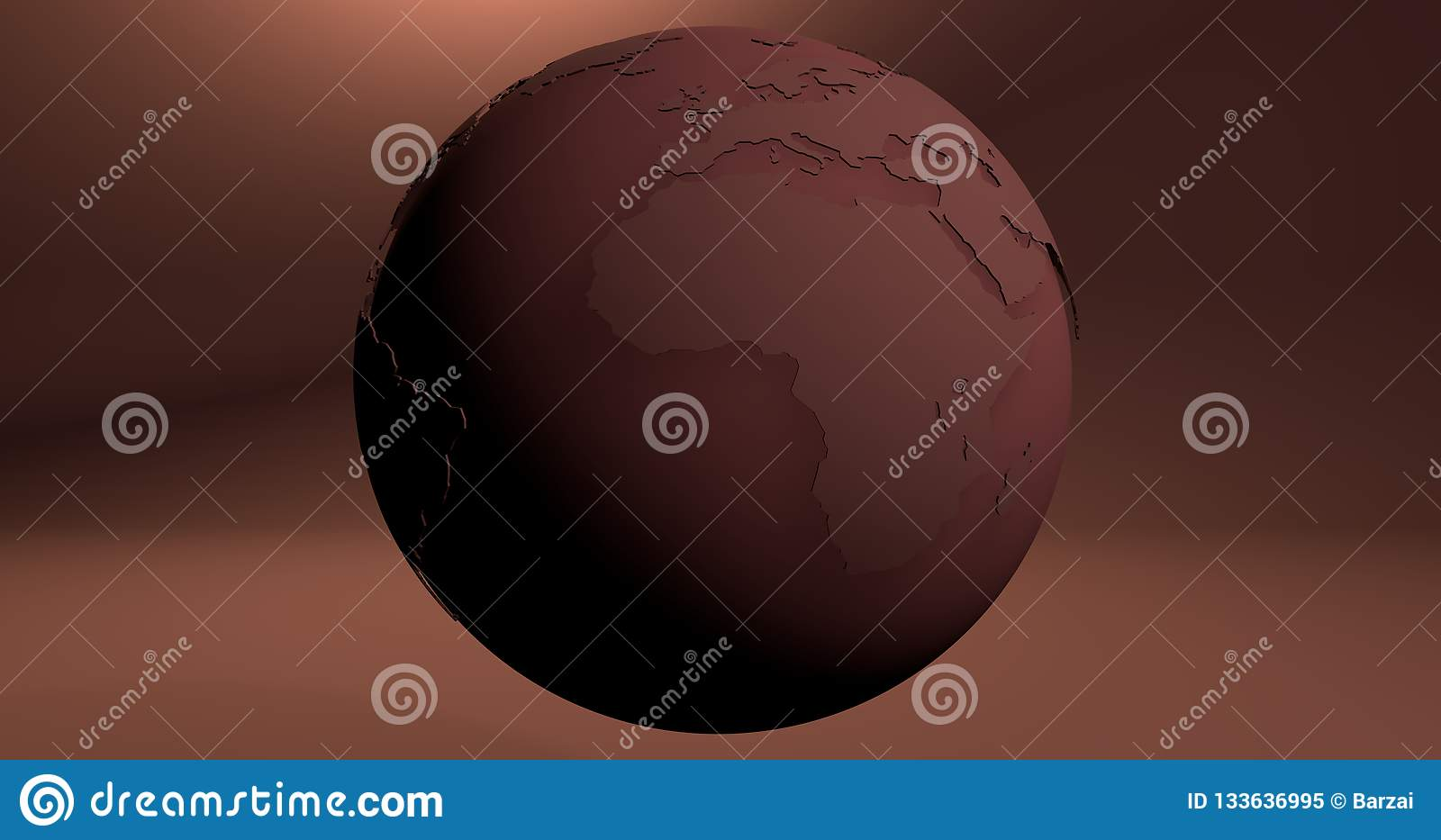 A background with the Earth planet in crimson color, which shows the Africa continent.